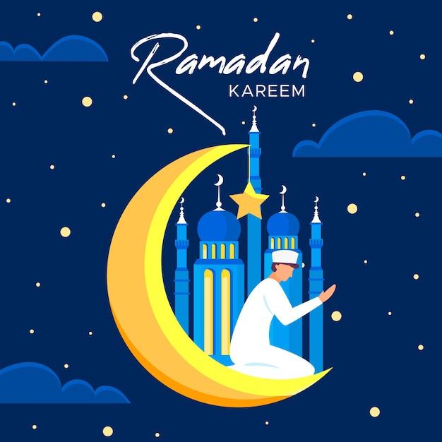 Рамадан с человеком и луной Premium векторы