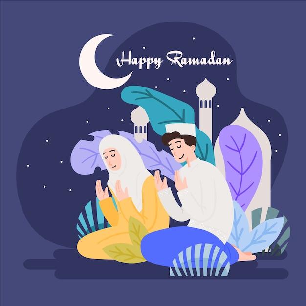 Рамадан с мужчиной и женщиной молятся Premium векторы