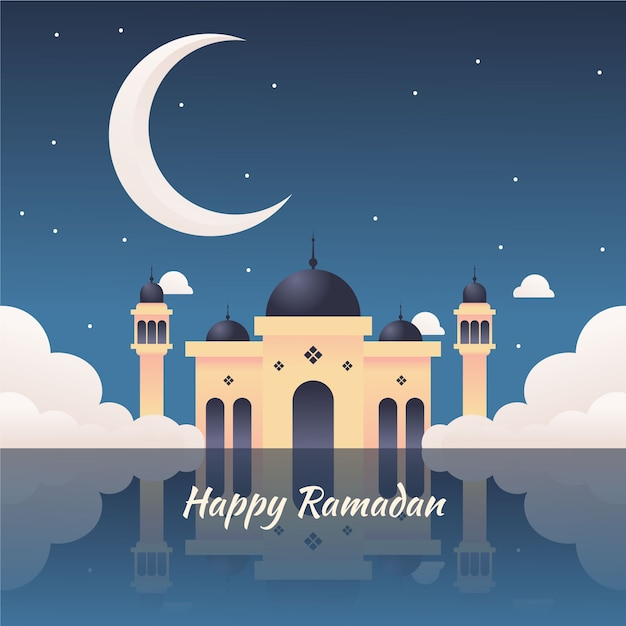 Ramadan with moon and stars Free Vector
