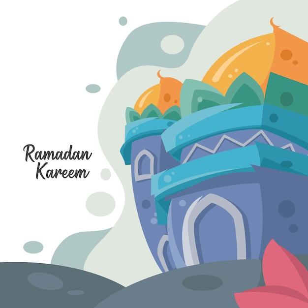 モスクの背景を持つラマダンカリーム挨拶デザイン Premiumベクター