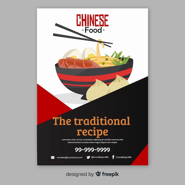 Ramen bowl chinese food flyer Free Vector