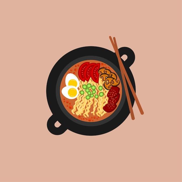 黒丼のラーメン平麺 Premiumベクター