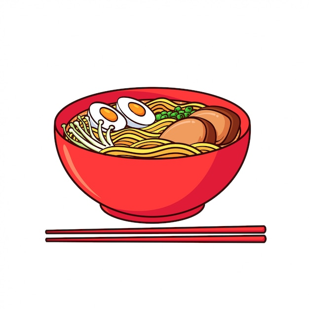 Ramen is a typical food from japan Premium Vector