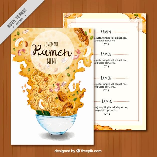 Ramen menu watercolor brochure Free Vector