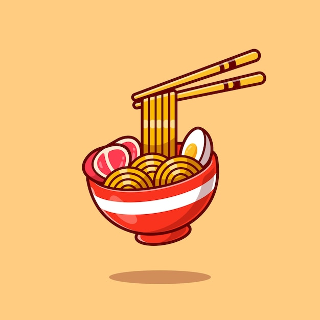 Ramen noodle egg and meat with chopstick cartoon Free Vector