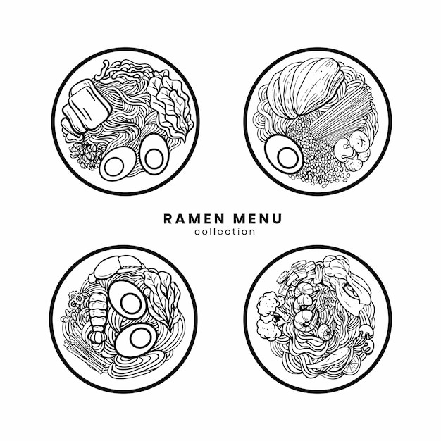 Ramen noodle set on illustration Premium Vector