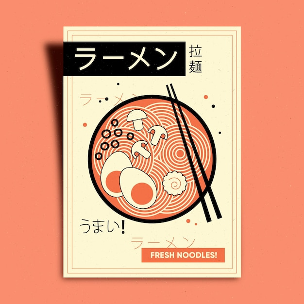 Ramen noodle with eggs poster Free Vector