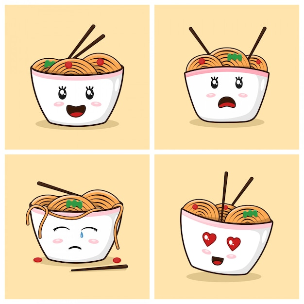 Ramen noodles cute cartoon with emotions Premium Vector