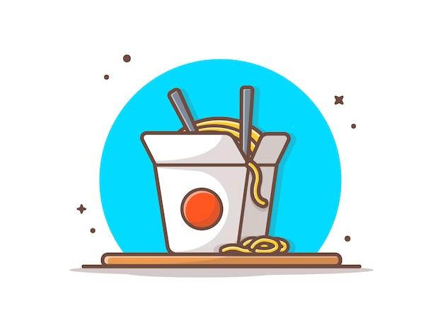 Ramen noodles  icon illustration Premium Vector