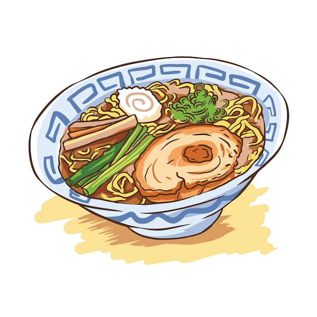 Ramen noodles illustration vector japanese Premium Vector