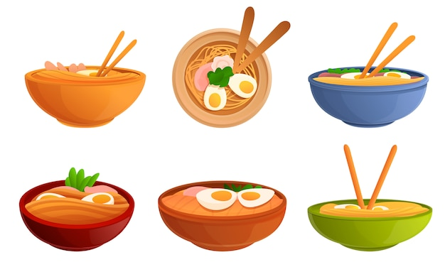 Ramen plates set, cartoon style Premium Vector