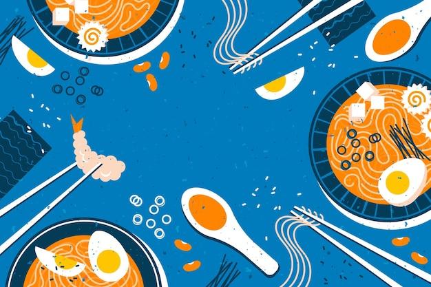 Суп рамэн на синем фоне Бесплатные векторы
