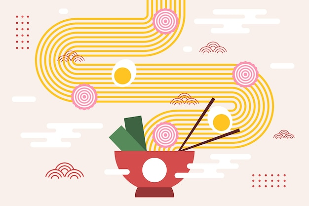 Ramen with noodles and egg in bowl japanese background Premium Vector