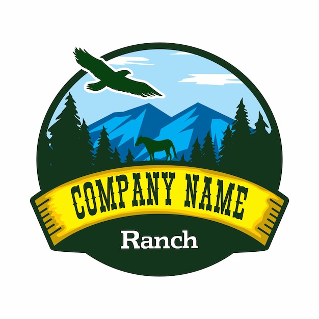 Ranch vector logo Premium Vector