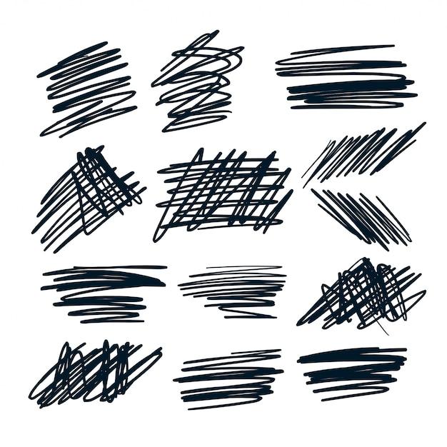 Случайные ручки наброски наброски набор Бесплатные векторы