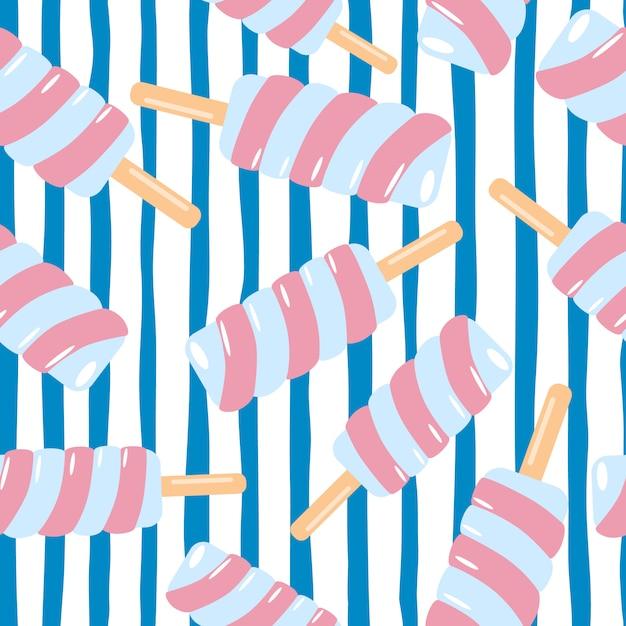 ランダムなスパイラルピンクのアイスクリームのシームレスなパターン。青い線で白い背景。 Premiumベクター