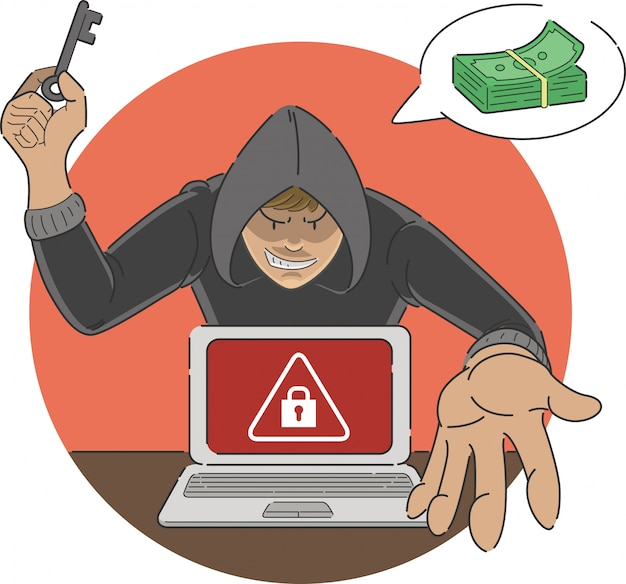 Ransomware attack scam cartoon of malware showing alert sign on laptop screen with hacker threatening money payment to unlock Premium Vector