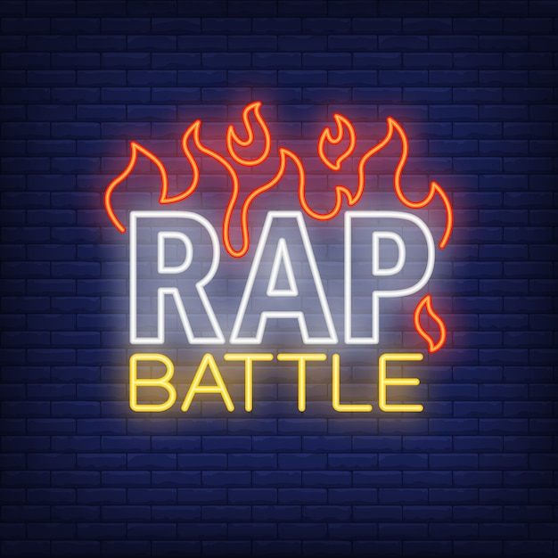 Rap battle neon text and fire. neon sign, night bright advertisement Free Vector