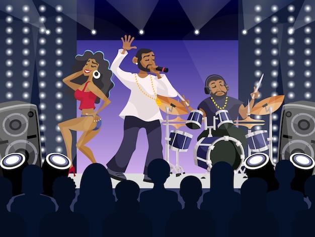 Rap concert scene Free Vector