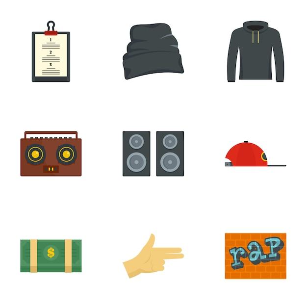 Rap icon set. flat set of 9 rap icons Premium Vector