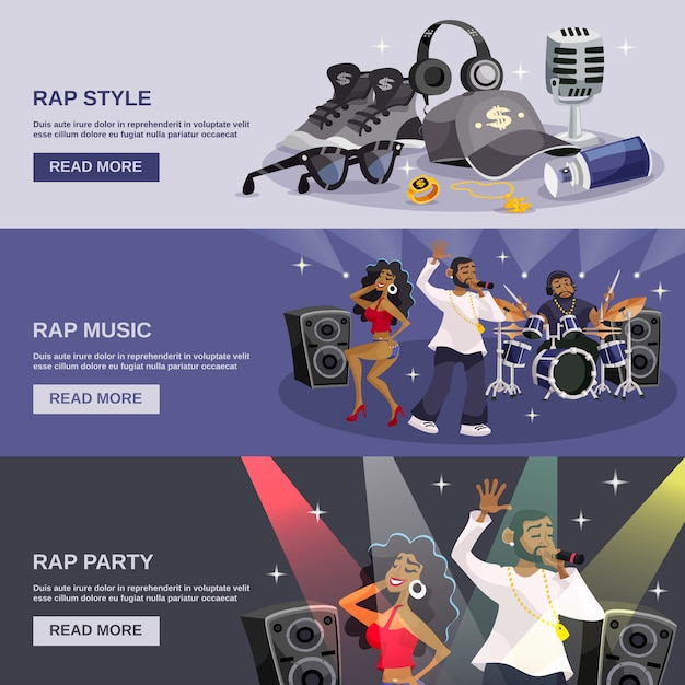 Rap music banner vector | free download.