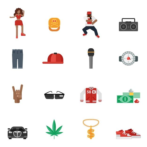 Rap music flat icons Free Vector
