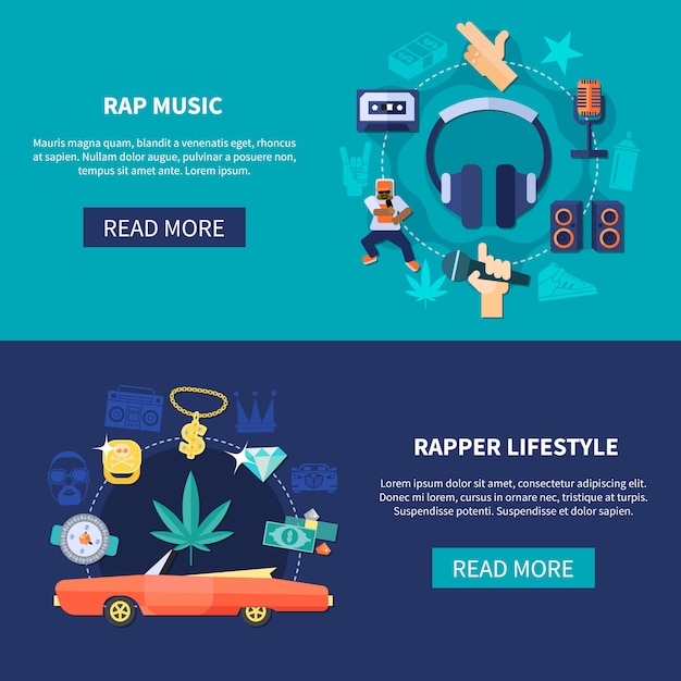 Rap music horizontal banners Free Vector