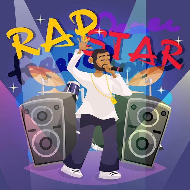 Rap music poster Free Vector