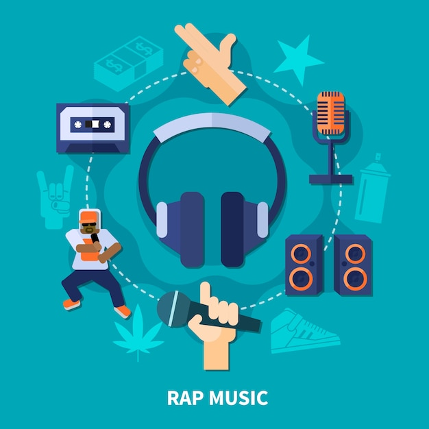 Rap music round composition Free Vector