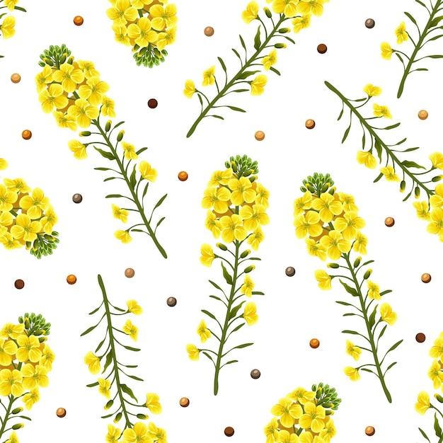 화이트에 유채 꽃 원활한 패턴 프리미엄 벡터
