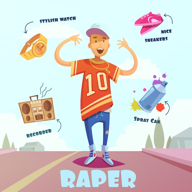Raper character pack for man Free Vector