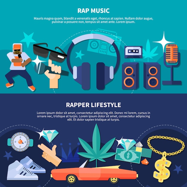 Rapper lifestyle horizontal banners Free Vector