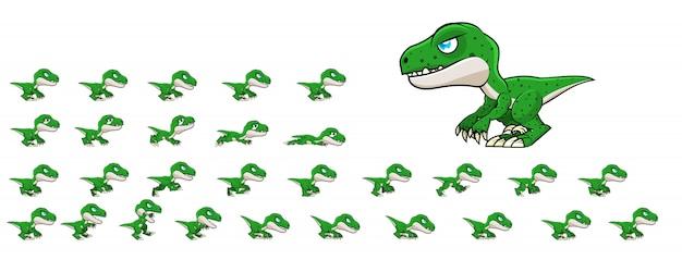 Raptor game sprites Premium Vector