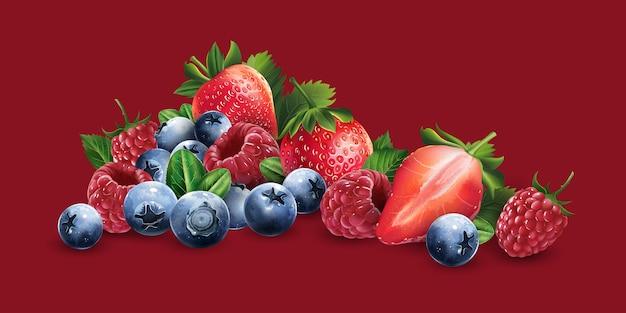 Raspberries, blueberries and strawberries Premium Vector