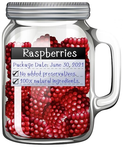 ガラスの瓶にラズベリー 無料ベクター