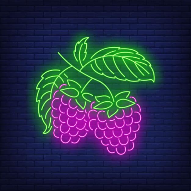 Raspberries neon sign. Free Vector