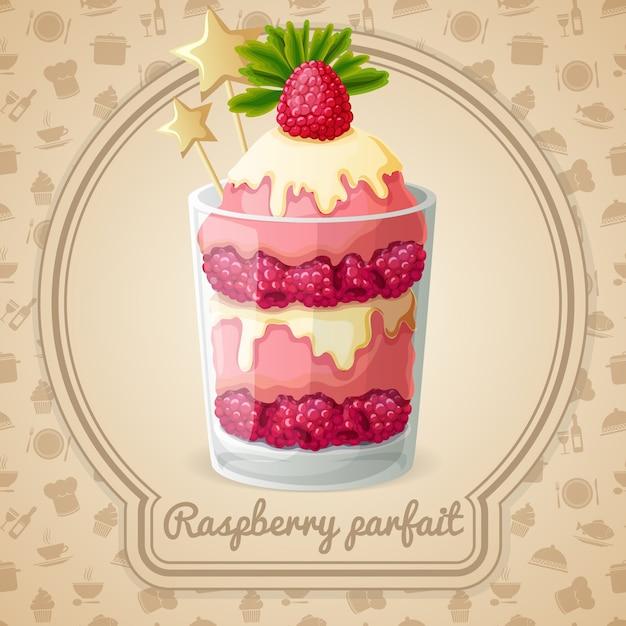 Raspberry parfait Free Vector