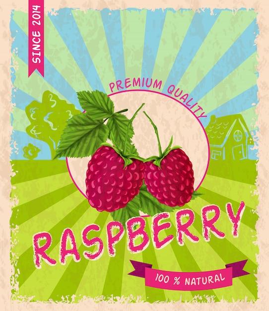 Raspberry retro poster Free Vector