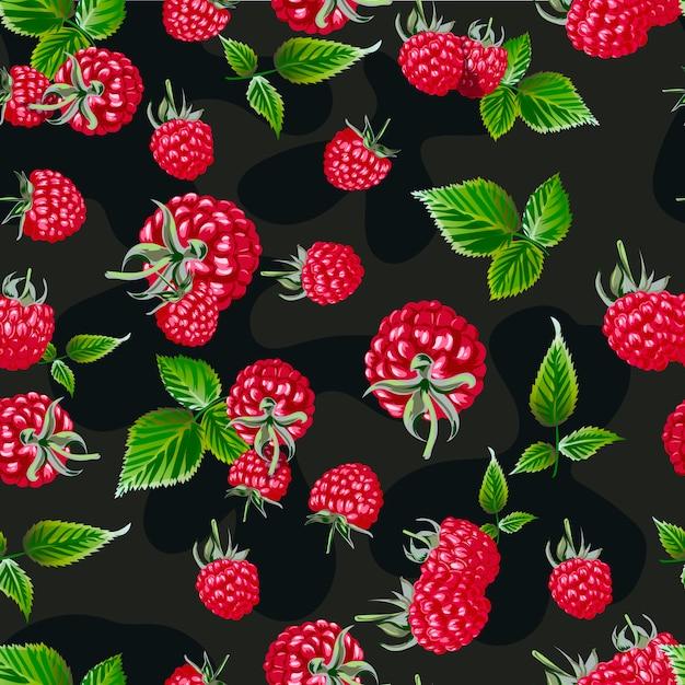 Raspberry vector seamless pattern. Premium Vector