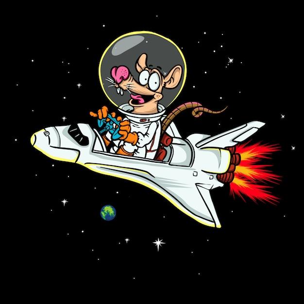 Rat astronaut illustration Premium Vector