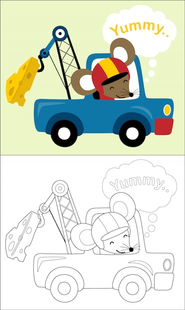 Rat cartoon on tow truck towing a huge cheese Premium Vector