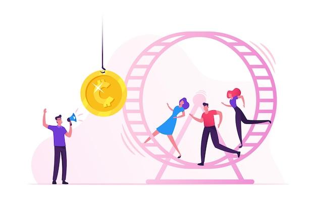 Крысиные гонки. подчеркнутые бизнесмены деловые женщины, бегущие в колесе хомяка, пытаются достать золотую монету, висящую на веревке перед ними. мультфильм плоский рисунок Premium векторы