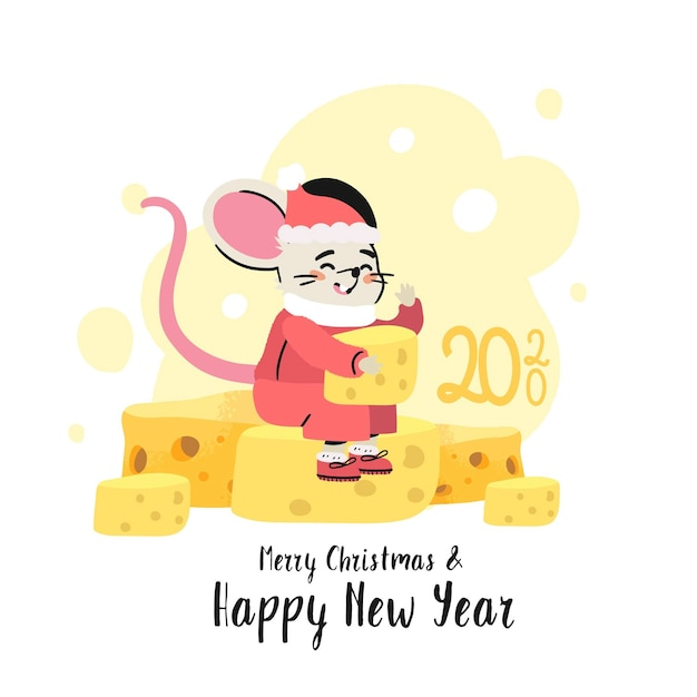 A rat in a santa claus costume sit on pile of tasty cheese. Premium Vector