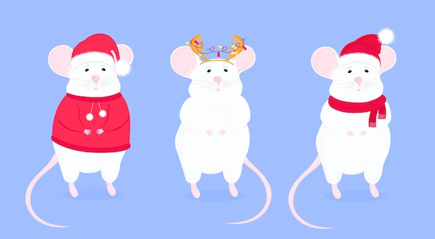 Rat in santa s hat and with antler. funny mice. lunar horoscope sign mouse. happy new year. Premium Vector