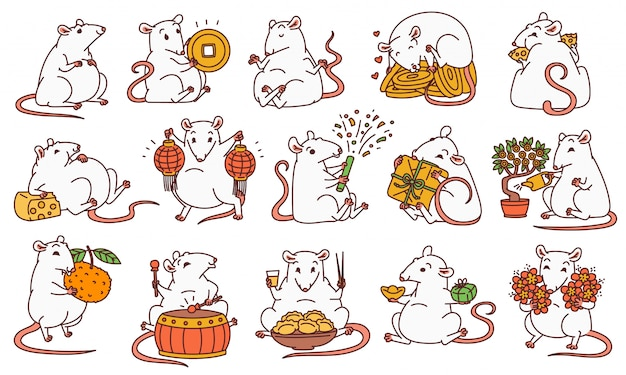 Rat set with different chinese new year symbols. cute mouse holds money and chinese lanterns eats cheese and festive food drums and lets off fireworks.  outline cartoon illustrations. Premium Vector