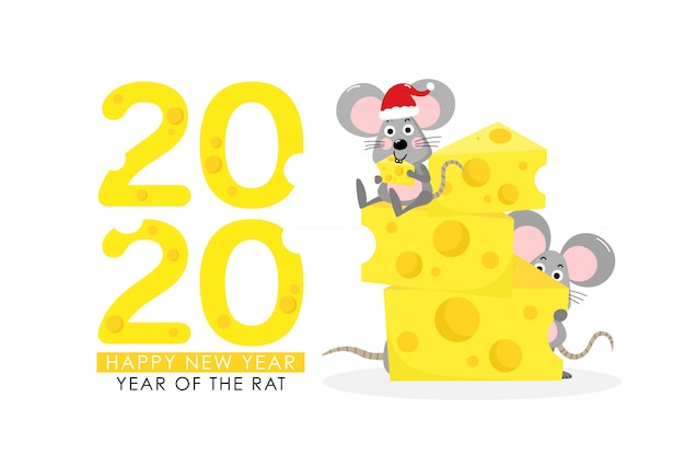 Rat with cheese greeting for 2020 Premium Vector
