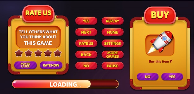 Rate us and buy menu pop up screen with stars and button Premium Vector