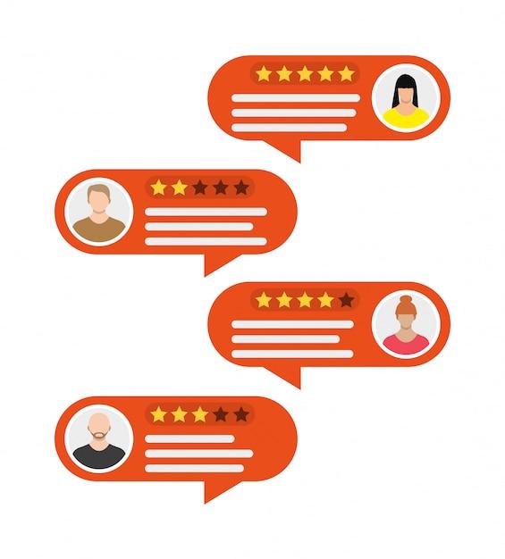 Rating app. bubble speeches and avatars. Premium Vector