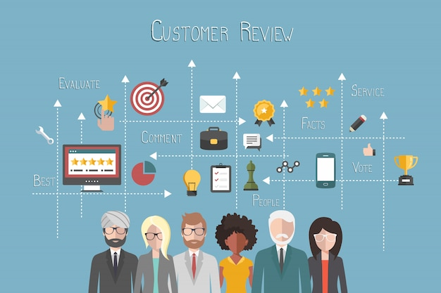 Rating on customer service Premium Vector
