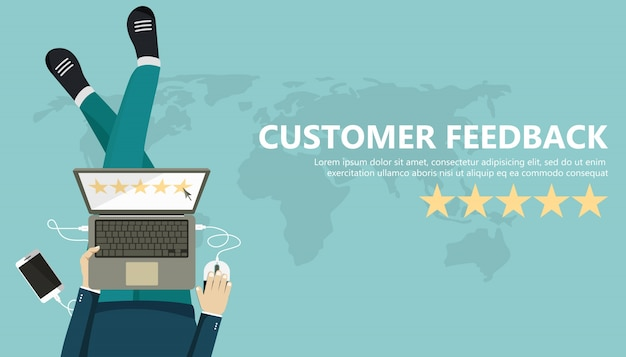 Rating on customer service Free Vector